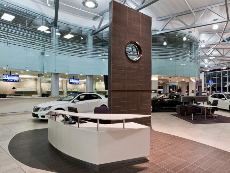 The service counter, has been put front and center of the showroom to emphasize the value of customer interaction and an integrated service approach.