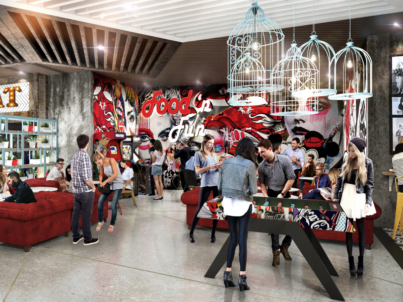 To address the Millennial lifestyle, the food hall will have a chill zone with billiards, ping-pong and fooz ball tables.