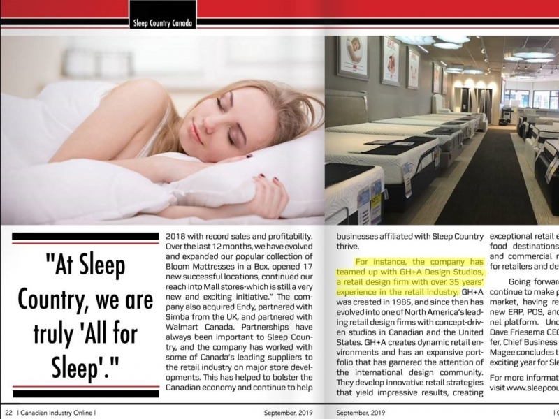 GH+A et Sleep Country dans Canadian Industry Magazine
