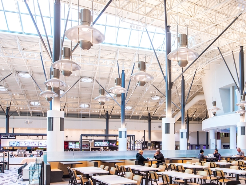 The Louis Poulsen lights that were original to the space were refurbished, retrofitted with LEDs and repositioned throughout the dining hall.